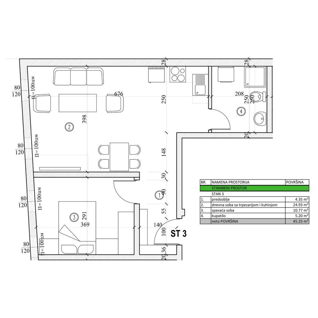 Dvosoban stan od 45,25 m2