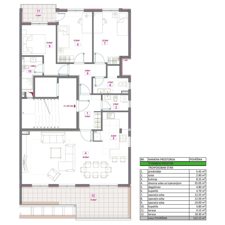 Troiposoban stan od 122,15 m2