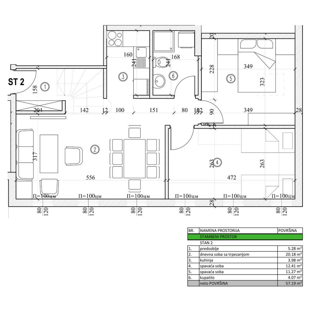 trosoban stan od 57,19 m2