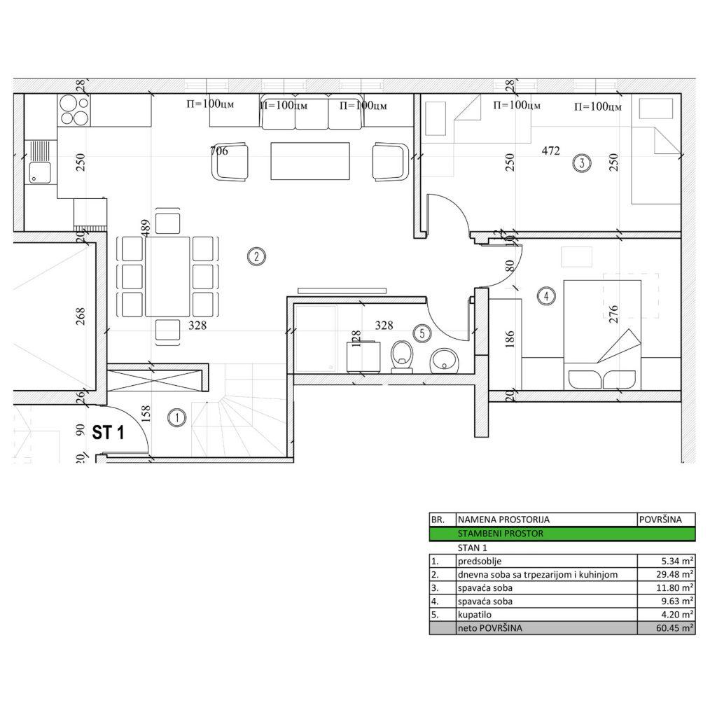 • Trosoban stan od 60,45 m2