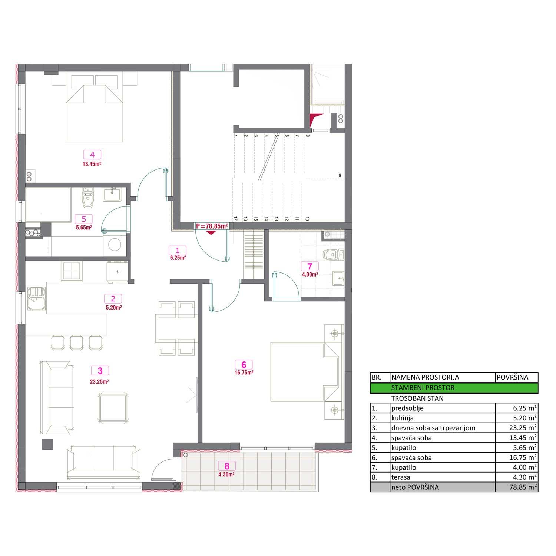 Trosoban stan od 78,85 m2